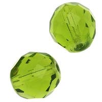 Czech Fire Polished Glass Beads 12mm Round Olivine (10)