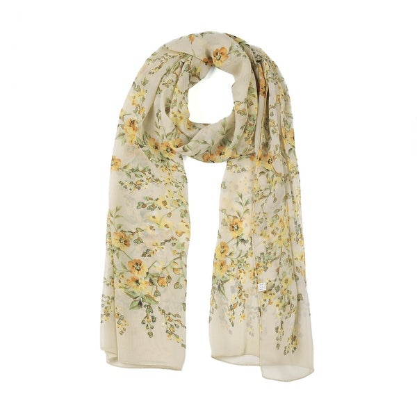 Long Chiffon Beach Scarf Silk Scarves Floral Scarves for Women Yellow