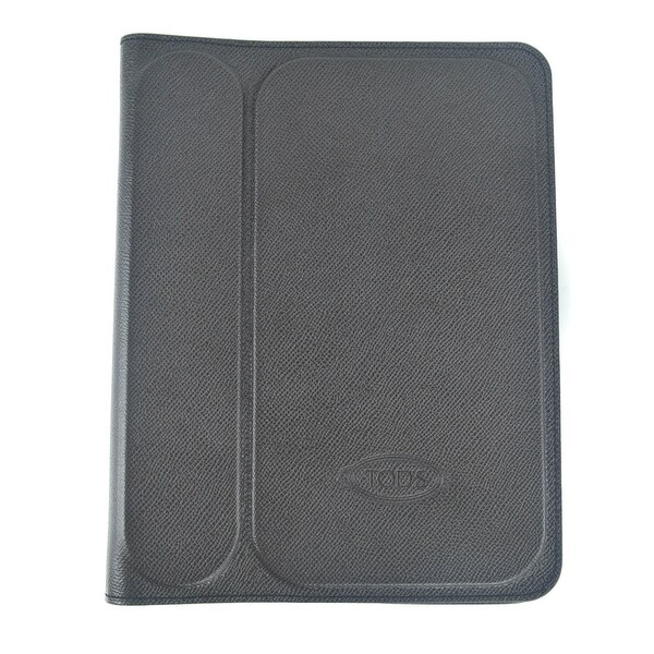Tods Mens Grey Grained Stamped Leather Ipad 2 Case