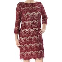 JESSICA HOWARD Womens Burgundy Lace Long Sleeve Jewel Neck Above The Knee Shift Dress  Size: 6