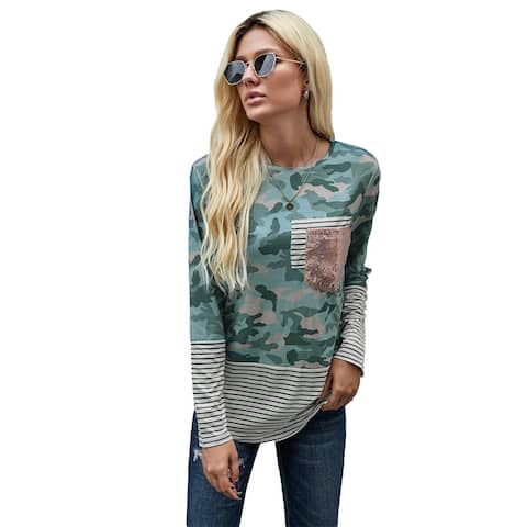 Cali Chic Women's Long Sleeve Shirt Celebrity Camo Stripe Pocket Sequins Splicing Top