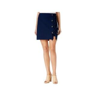 Kensie Womens Mini Skirt Lace-Up Hardware Detail