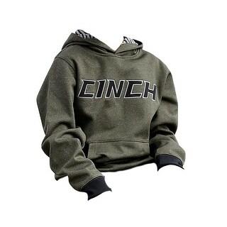 Cinch Western Sweatshirt Boys Hoodie Rib Knit Heather Olive