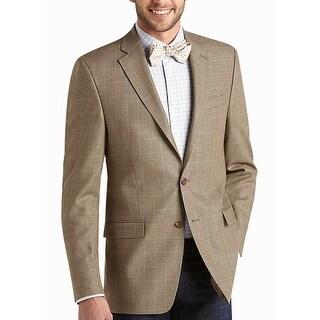 Ralph Lauren Mens Light Brown Silk & Wool Houndstooth Sportcoat 41 Regular 41R