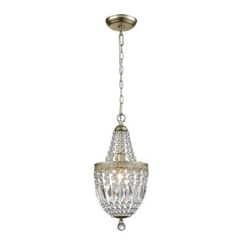 Champagne Gold Clear 1-Light Mini Pendant -Victorian Style Pendant Light - 8X16-Inches 40-Watt
