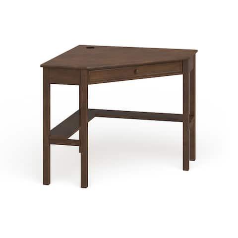 Porch & Den Crescent Espresso Wood Corner Computer Desk