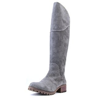 Lucky Brand Harleen Women Round Toe Suede Gray Over the Knee Boot