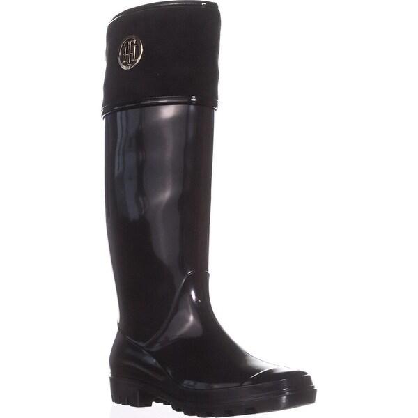 Tommy Hilfiger Shiner Knee High Rainboots, Black - 10 us