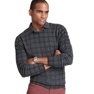 Bloomingdales Mens Pure Cashmere V-Neck Plaid Sweater XX-Large 2XL Charcoal Knit