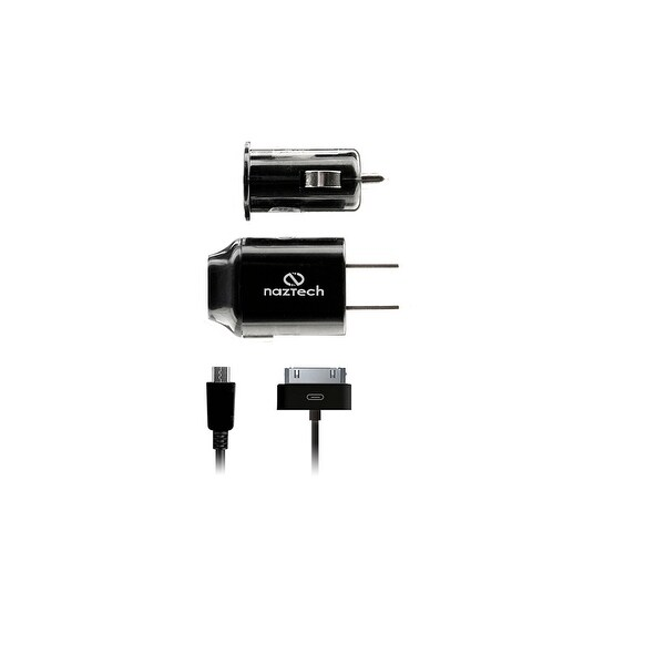 Naztech 1 mAh Charger w Micro USB Cable, iPhone 4 Adapter, Wall & Car Plug