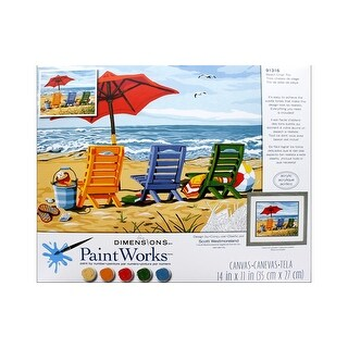 Paintworks Paint By Number 14x11 Beach Chair Trio