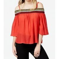 BCX Red Size Large L Junior Embroidered Off-Shoulder Knit Top