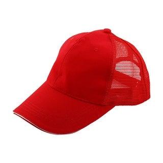 Unisex Cotton Blends 6 Panel Adjustable Golf Baseball Cap Outdoor Sports Hat Red