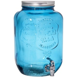 Palais Glassware High Quality Mason Jar Beverage Dispenser - Traditional Tin Screw Off Lid (Blue)