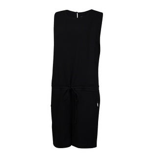 Vince Camuto Women's Drawstring Pocketed Crepe Romper - Black