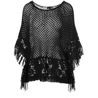 Aqua Womens Open Knit Fringe Trim Poncho Sweater - S