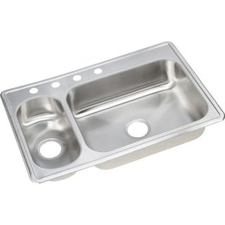 "Elkay DSEMR23322 Dayton 33"" Double Basin Drop In Stainless Steel Kitchen Sink"