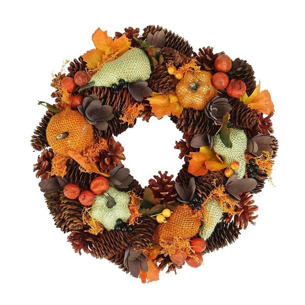 """13"""" Autumn Harvest Gourds and Berries Artificial Wreath Decoration"""