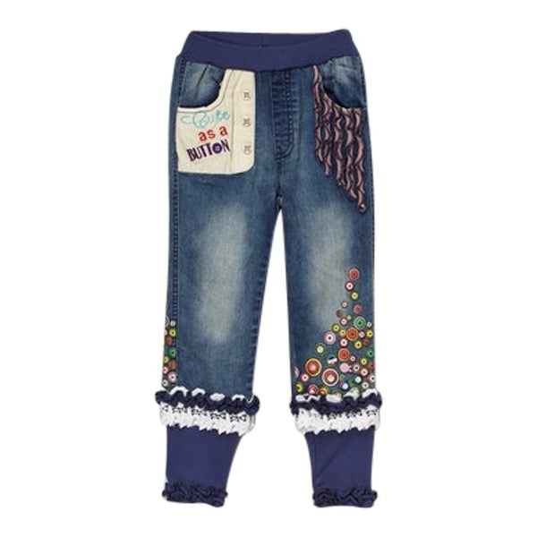 """Rock'nStyle Baby Girls Blue Trimmed """"Cute As a Button"""" Denim Pants - 18-24 months"""