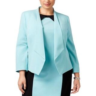 Nine West Womens Plus Open-Front Blazer Crepe Drapey