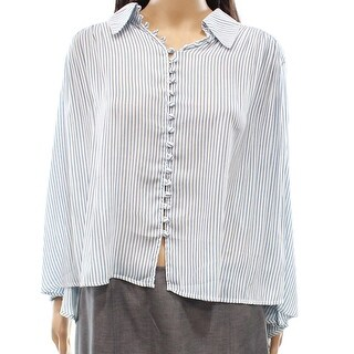 Free People NEW Blue Women's Size Small S Striped Hi-Low Button Blouse