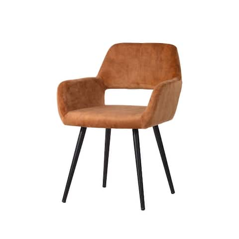 Velet Upholstered Side Dining Chair with Wooden Printing Leg