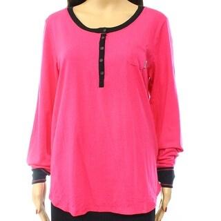 DKNY NEW Pink Black Women's Size Medium M Contrast Henley Sleepshirt