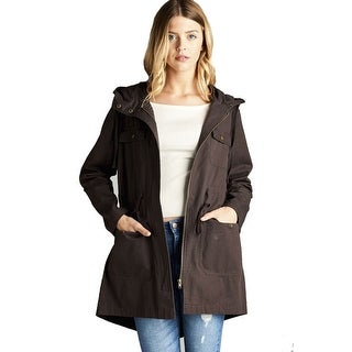 Mid Length Utility Jacket in Brown