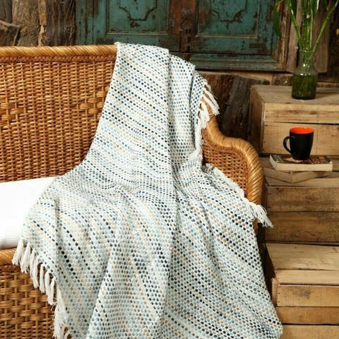 Luxurious Cotton Throw Blanket Hand loom Stone Wash Multi