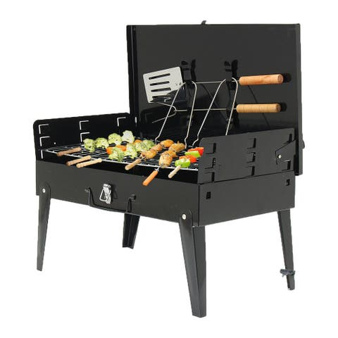 """18"""" Foldable BBQ Grill,BBQ Charcoal Grill,Portable Barbecue Camping Picnic Grill Stove Outdoor,Barbecue Portable Folding Grill"""