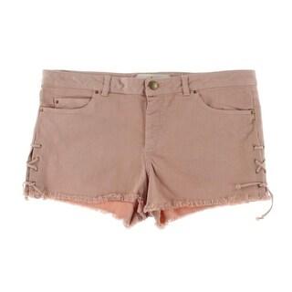 Zara Basic Womens Lace-Up Sides Denim Cutoff Shorts - L