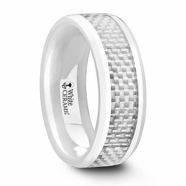 KENYON Beveled Polished White Ceramic Ring with White Carbon Fiber Inlay