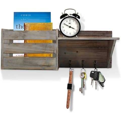 Wood Rustic Wall Mounted Key & Mail Holder/Organizer with 3 Key Hooks