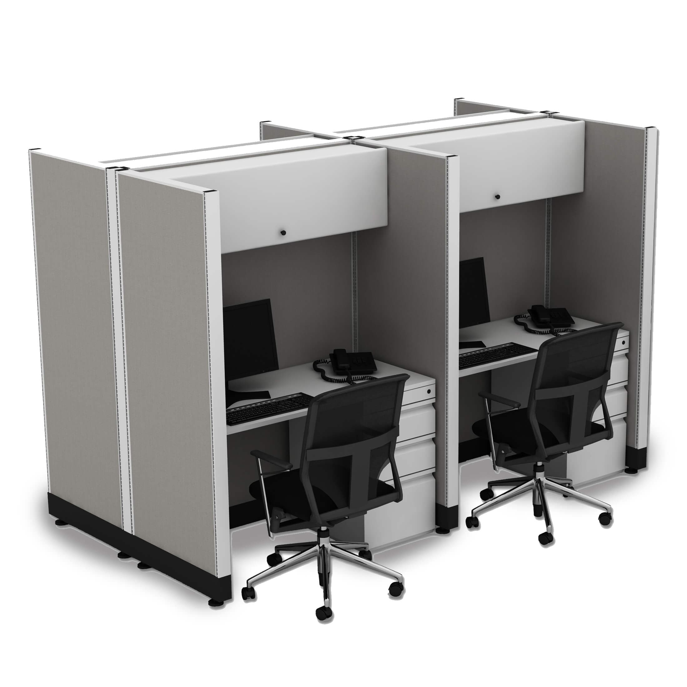 Tall Cubicles 67H 4pack Cluster Unpowered (4x4 - White Desk White Paint - Assembled)