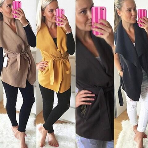 Women Casual Turn Down Collar Sleeveless Outwear Autumn Winter Vest Coat