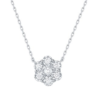 Smiling Rocks 0.99Ct G-H/VS1 Lab Grown Diamond Cluster Necklace
