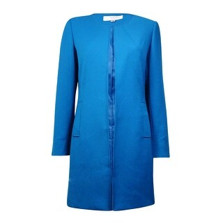 Tahari Women's Solid Collarless Pocketed Long Blazer - gotham blue