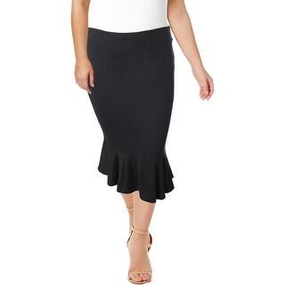 Junarose Womens Plus Flare Skirt Ruffled Below Knee