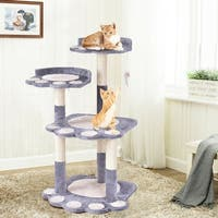 Gymax 42'' Cat Tree Kitten Pet Furniture Multi-level Climb Scratching Posts Paw Gray