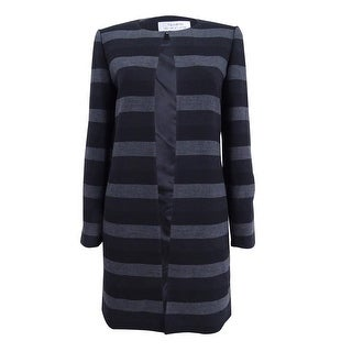 Tahari ASL Women's Striped Topper Coat - Black/Grey