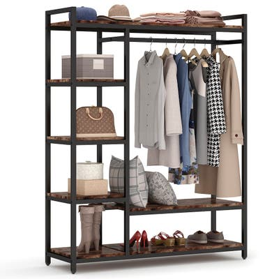 Heavy Duty Clothes Closet, Freestanding Garment Rack with 6 Shelves and Hanging rod
