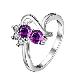 Duo-Purple Citrine Gem Curved Spiral Petite Ring