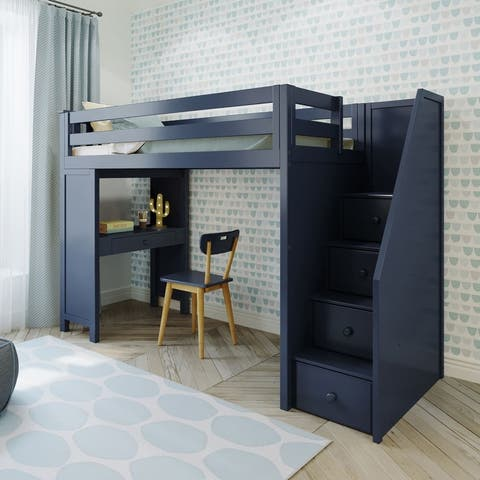 Plank and Beam Staircase Loft Bed Study