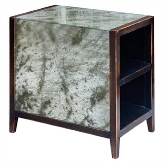 Tierney Handcrafted Worn Black Mahogany Wood and Antique Glass End Table