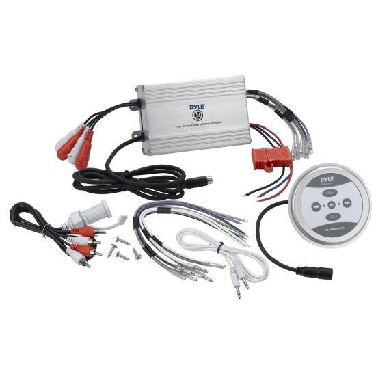 Bluetooth Marine Amplifier, 1200 Watt 4-Channel Water Resistant Amp (Silver)