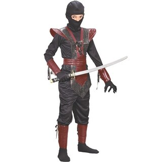 Fun World Leather Ninja Fighter Child Costume (Red) - Red