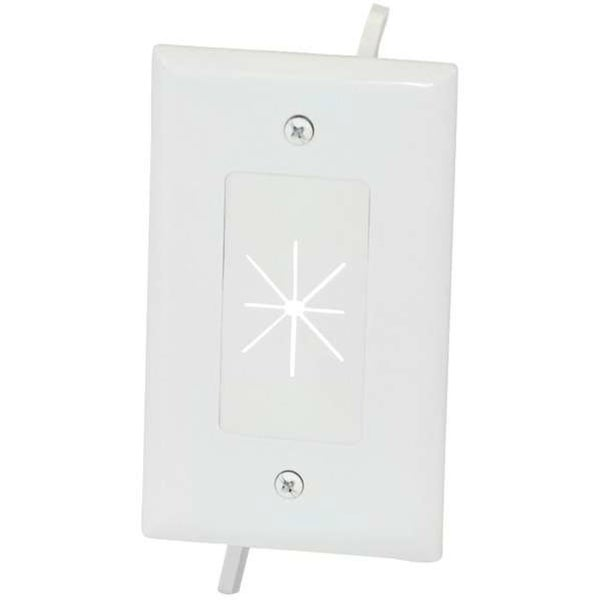 datacomm-custom install NZ6725W 1-gang Cable Plate With Flexible Opening white