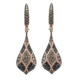 1.69 Carat Real Natural Brown & Black Color Diamond and White Diamond Fabulous Drop Earring.