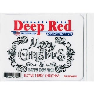 Deep Red Stamps Festive Merry Christmas Rubber Cling Stamp - 4 x 2.2