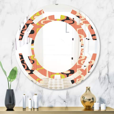 Designart 'Retro Abstract Design XIII' Modern Round or Oval Wall Mirror - Space
